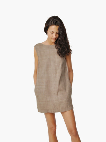 Electric Feathers Brown Linen Open Back Dress
