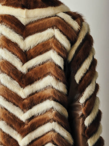 Vintage Chevron Mink Fur Coat