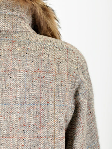 Vintage Fur Collar Tweed Jacket