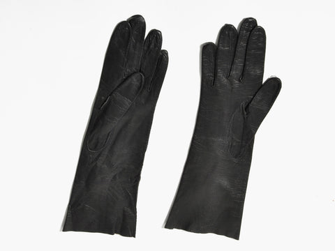 Vintage Black Leather Gloves