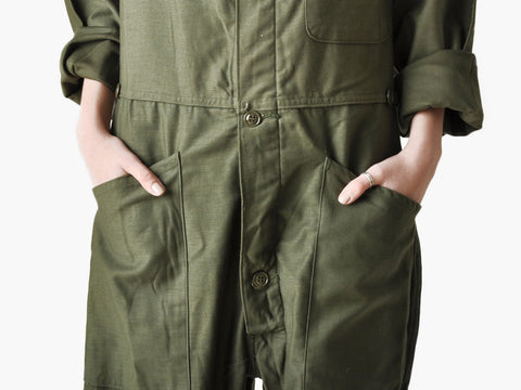 Vintage Army Green Coverall Shorts