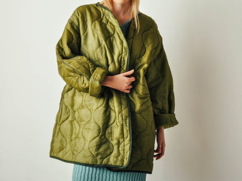 Vintage Quilted Green Liner Coat