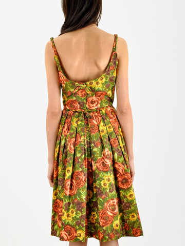 Vintage 1950s GARDEN PARTY watercolor print dress