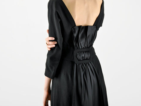 Vintage 1960s MR. MORT Large Bow Back Black Dress