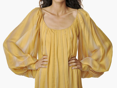 Vintage Bill Blass Gold Pleated Dress