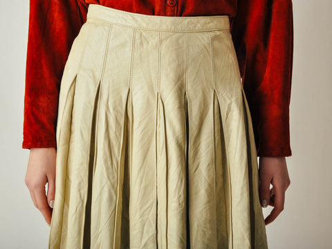 Cream Pleated Leather Skirt