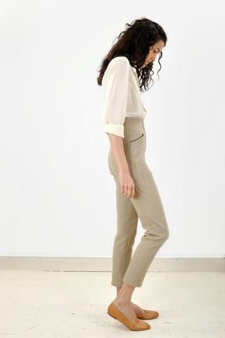 Vintage Ribbed High-Waisted Pants