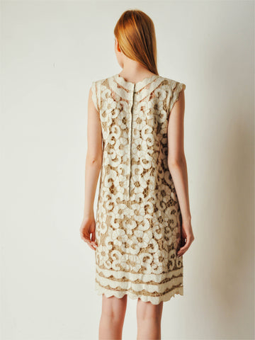 Vintage Allover Linen Lace Dress
