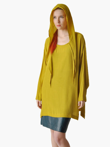 Vintage Chartreuse Hooded Top