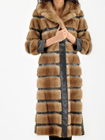 Vintage HONEY MINK and Leather Long Coat