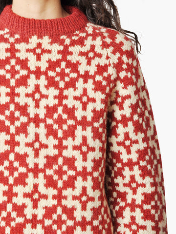 Vintage Cream & Red Geometric Finnish Sweater
