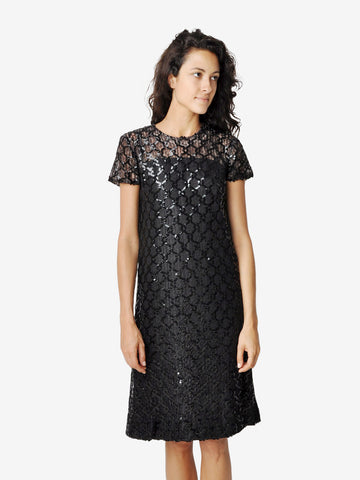 Vintage Black Lace and Sequin Cocktail Dress