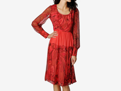 Vintage Adele Simpson Red Silk Dress