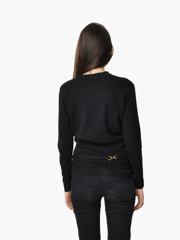 Vintage Black Belted Cashmere Sweater