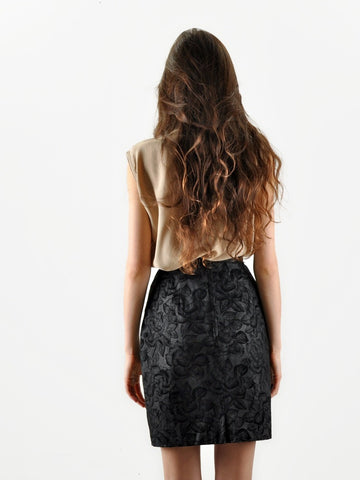 Vintage Black Rose Leather Skirt