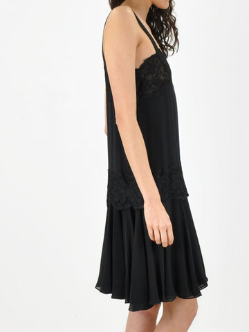 Vintage Black Silk and Lace Dress