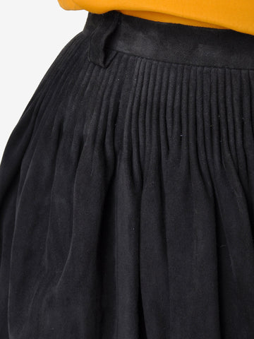 Vintage Hand Sewn Pleated Suede Skirt