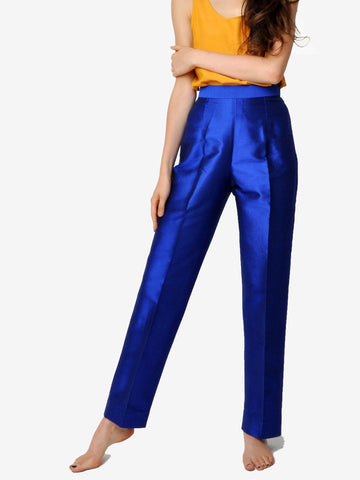 Vintage Cobalt Blue Silk Pants