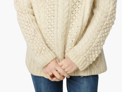 Vintage Cream Cable Knit Turtleneck Sweater