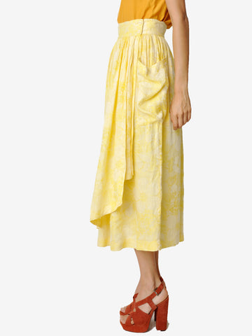 Vintage Escada Yellow Floral Skirt