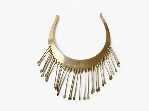 Vintage Brass Fringe Bib Necklace