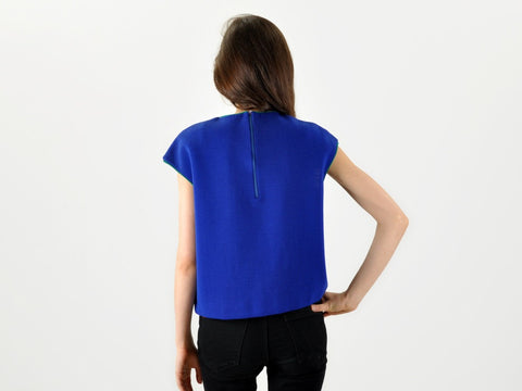Vintage Wide Blue and Green Bold Wool Top