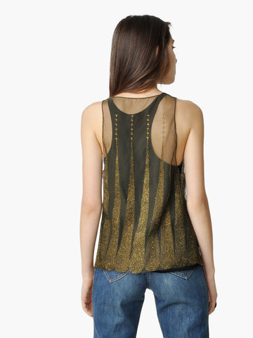 Olive Green and Gold Sheer Embellished Tank