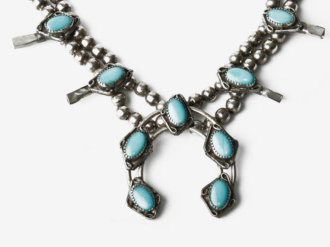 Vintage Squash Blossom Turquoise Necklace