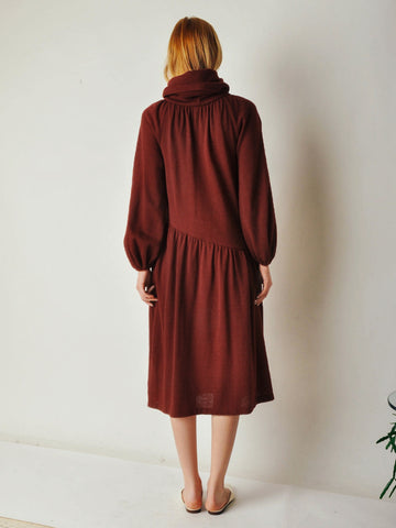 Vintage 70s Maroon Drop Waist Dress