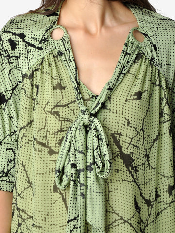 Mayle Green and Black Dalmatia Blouse
