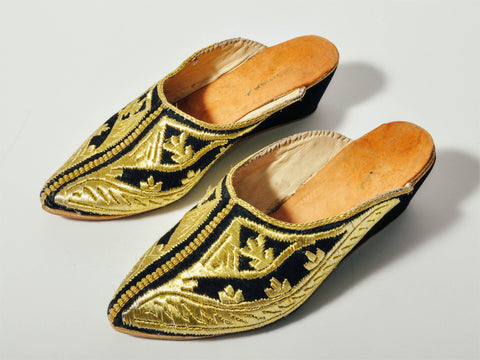 Vintage Black & Gold Moroccan Mules