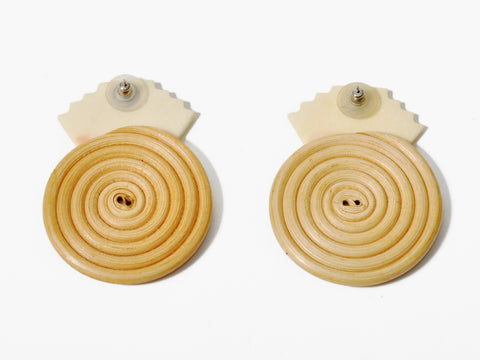Vintage Bone & Wooden Spiral Earrings