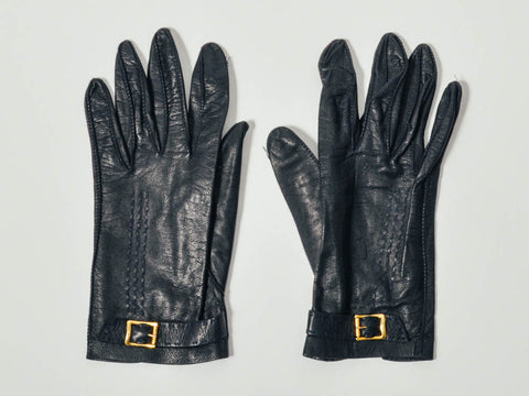 Vintage Navy Buckle Leather Gloves