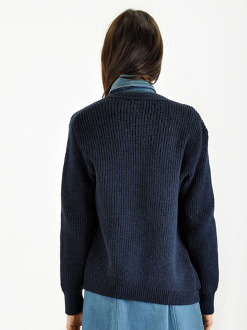 Vintage Navy Blue CARDIGAN SWEATER