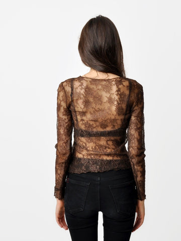Only Hearts Brown Lace Top
