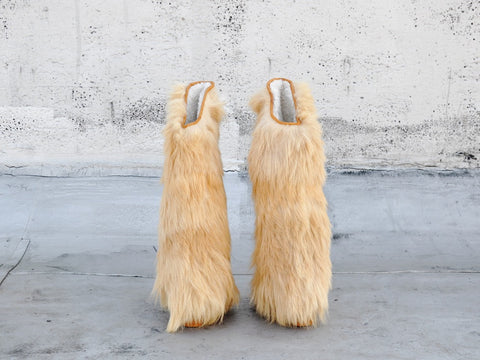vintage OVER-THE-KNEE goat hair fur boots
