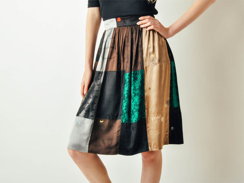 Vintage Patchwork Satin Skirt