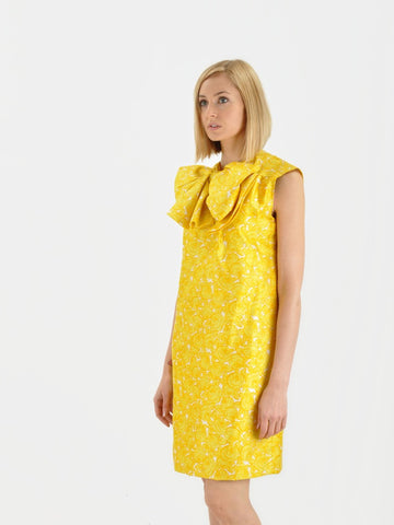 Vintage PAULINE TRIGERE Yellow Bow Dress