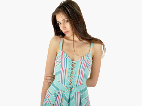 Vintage Chevron Corset Dress
