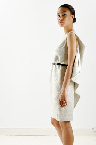 Ports 1961 Silk Metallic Dress with Cascading Back