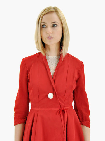 Vintage 1950s Red Silk Faille Jacket