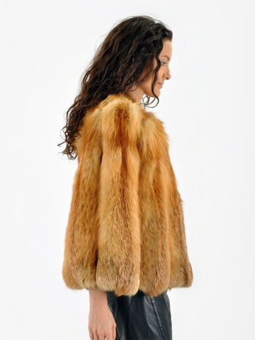 Vintage 40s WWII Red FOX FUR Cape