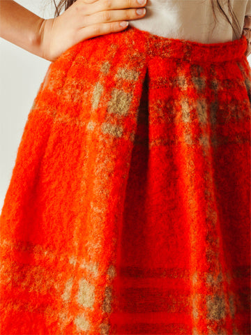 Vintage Red Plaid Mohair Skirt