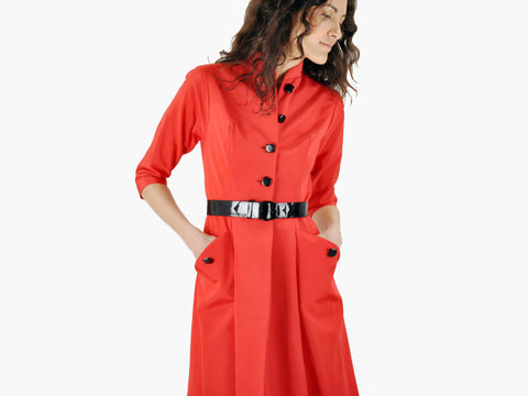 Vintage LIPSTICK RED faille belted dress coat