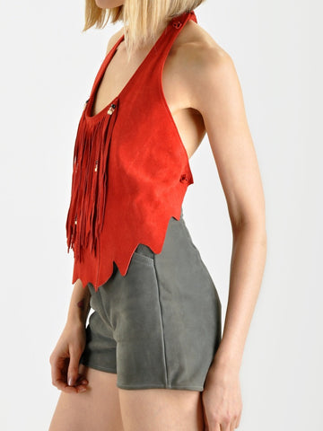 Red Suede Fringe Top