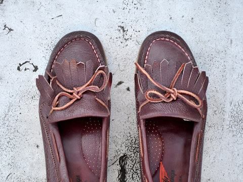 vintage RED WINGS leather fringe loafers