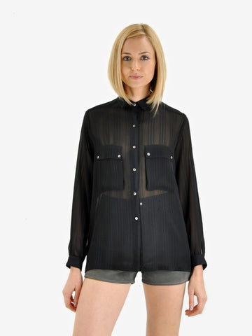 Vintage Black Sheer Button Down Blouse