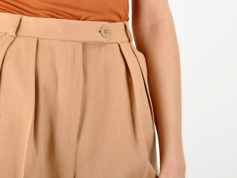 Vintage Tan High Waisted Cuffed Shorts