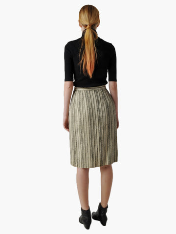 Vintage Black Striped Pencil Skirt