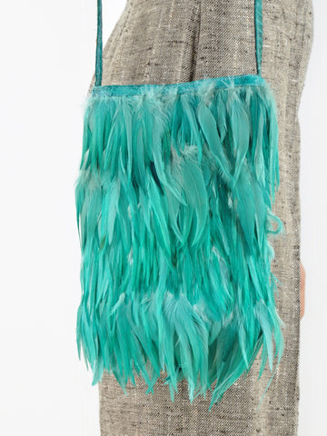 Vintage Sea Green FEATHER PURSE